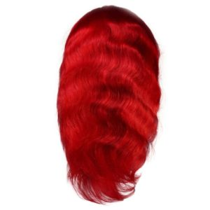 Red front lace wig seen from the back