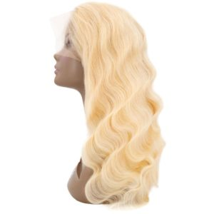 Blonde Brazilian Full lace wig Body Wave seen from the back