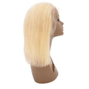 Straight Blonde Bob Wig on mannequin head seen from the right
