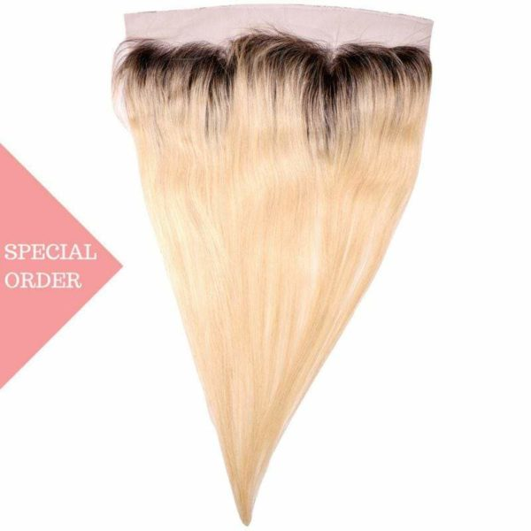 Dark Root Blonde Russian Ombre Straight Frontal seen from front