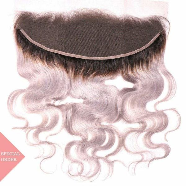 Dark Root Gray Ombre Body Wave Frontal seen from Back