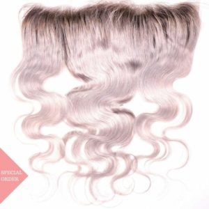 Dark Root Gray Ombre Body Wave Frontal seen from front
