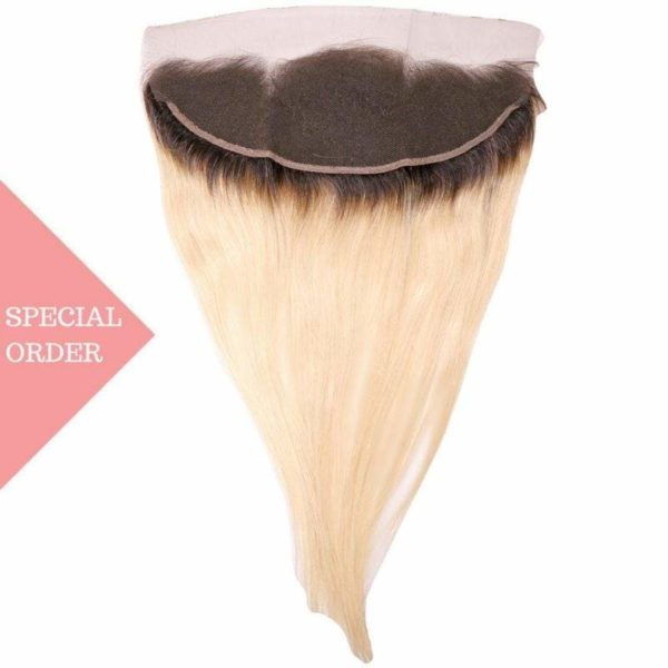 Dark Root Blonde Russian Ombre Straight Frontal seen from back