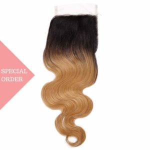 Body Wave honey blonde ombre closure seen from the front color #27 Honey Blonde