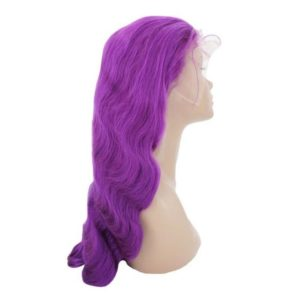 Purple lush wig on mannequin head seen from the right