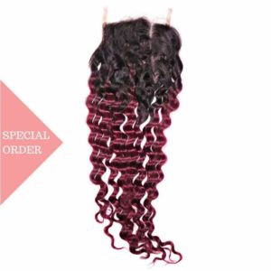 Raspberry ombre deep wave closure color #135 Raspberry Red