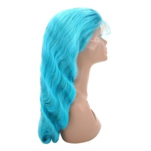 Teal Temptress front lace on mannequin head seen from the right